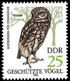 25 Pf Briefmarke: Geschützte Vögel, Steinkauz