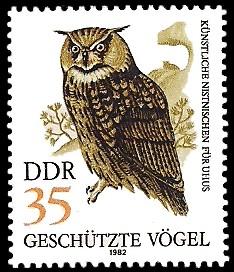 35 Pf Briefmarke: Geschützte Vögel, Uhu