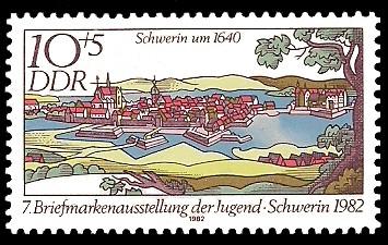 10 + 5 Pf Briefmarke: 7. Briefmarkenausstellung der Jugend, Schwerin um 1640