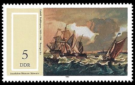 5 Pf Briefmarke: Staatliches Museum Schwerin, Bewegte See