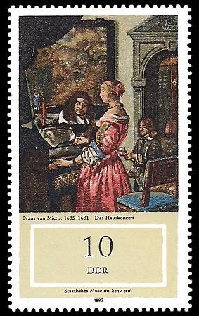 10 Pf Briefmarke: Staatliches Museum Schwerin, Das Hauskonzert