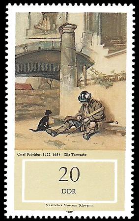 20 Pf Briefmarke: Staatliches Museum Schwerin, Die Torwache
