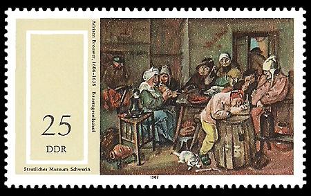 25 Pf Briefmarke: Staatliches Museum Schwerin, Bauerngesellschaft