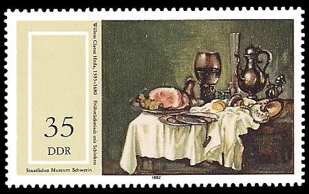 35 Pf Briefmarke: Staatliches Museum Schwerin, Frühstückstisch mit Schinken