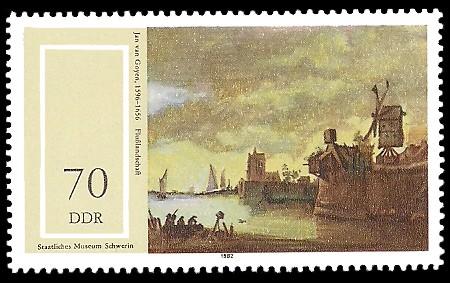 70 Pf Briefmarke: Staatliches Museum Schwerin, Flußlandschaft