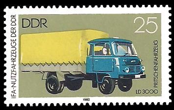 25 Pf Briefmarke: IFA-Nutzfahrzeuge der DDR, LD3000 Pritschenfahrzeug
