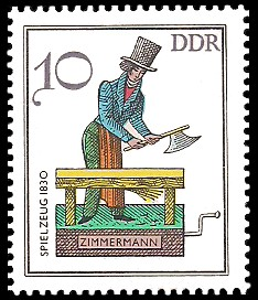 10 Pf Briefmarke: Historisches Spielzeug - Berufe, Zimmermann
