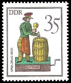 35 Pf Briefmarke: Historisches Spielzeug - Berufe, Büttner