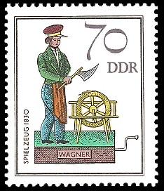 70 Pf Briefmarke: Historisches Spielzeug - Berufe, Wagner