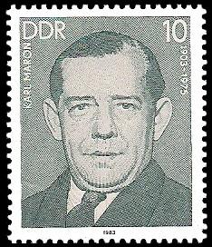 10 Pf Briefmarke: Verdienstvolle Persönlichkeiten der Arbeiterbewegung, Karl Maron