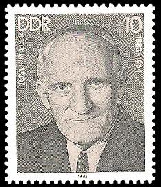 10 Pf Briefmarke: Verdienstvolle Persönlichkeiten der Arbeiterbewegung, Josef Miller