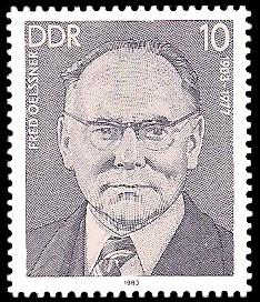 10 Pf Briefmarke: Verdienstvolle Persönlichkeiten der Arbeiterbewegung, Fred Oelssner