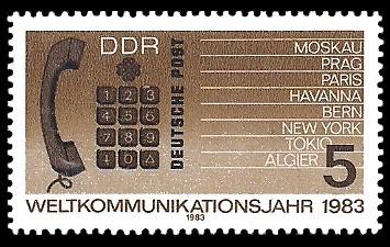 5 Pf Briefmarke: Weltkommunikationsjahr, Telefonhörer und Tastwahlblock
