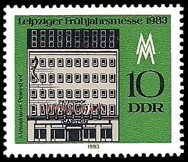 10 Pf Briefmarke: Leipziger Frühjahrsmesse 1983, Messehaus Petershof
