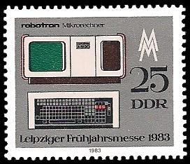 25 Pf Briefmarke: Leipziger Frühjahrsmesse 1983, robotron Mikrorechner
