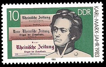 10 Pf Briefmarke: Karl-Marx-Jahr 1983, junger Karl Marx