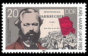 20 Pf Briefmarke: Karl-Marx-Jahr 1983, Deutsch-Französische Jahrbücher