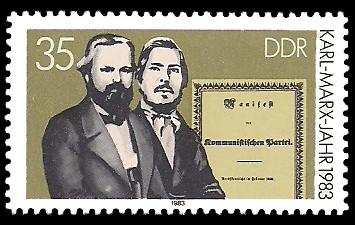 35 Pf Briefmarke: Karl-Marx-Jahr 1983, Marx, Engels, Manifest