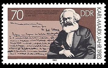 70 Pf Briefmarke: Karl-Marx-Jahr 1983, Randglossen zum Programm der dt. Arbeiterpartei