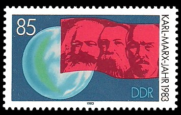 85 Pf Briefmarke: Karl-Marx-Jahr 1983, Marx, Engels, Lenin