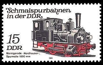 15 Pf Briefmarke: Schmalspurbahnen in der DDR, Lok Wernigerode-Nordhausen