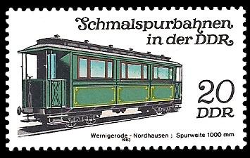 20 Pf Briefmarke: Schmalspurbahnen in der DDR, Personenwagen Wernigerode-Nordhausen