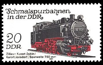 20 Pf Briefmarke: Schmalspurbahnen in der DDR, Lok Zittau-Oybin/Jonsdorf