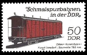 50 Pf Briefmarke: Schmalspurbahnen in der DDR, Güterwagen Zittau-Oybin/Jonsdorf