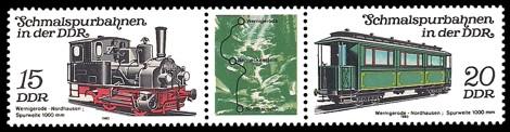 Briefmarke: Dreierstreifen A - Schmalspurbahnen in der DDR, Wernigerode-Nordhausen