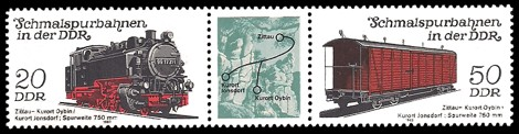 Briefmarke: Dreierstreifen B - Schmalspurbahnen in der DDR, Zittau-Oybin/Jonsdorf