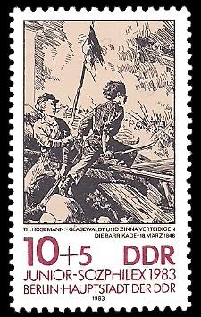 10 + 5 Pf Briefmarke: Junior-Sozphilex 1983, Barrikade