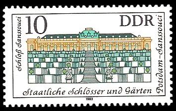 10 Pf Briefmarke: Staatliche Schlösser und Gärten Potsdam-Sanssouci, Schloß Sanssouci