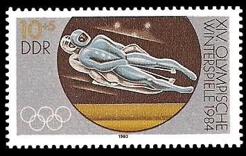10 + 5 Pf Briefmarke: XIV. Olympische Winterspiele 1984, Rennrodeln