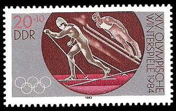 20 + 10 Pf Briefmarke: XIV. Olympische Winterspiele 1984, nordische Kombination