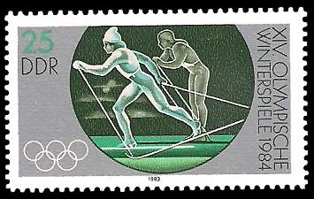 25 Pf Briefmarke: XIV. Olympische Winterspiele 1984, Skilanglauf