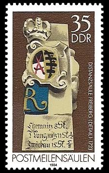 35 Pf Briefmarke: Postmeilensäulen, Distanzsäule Freiberg