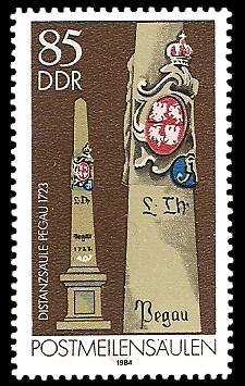 85 Pf Briefmarke: Postmeilensäulen, Distanzsäule Pegau