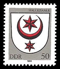50 Pf Briefmarke: Stadtwappen von Halle / Saale