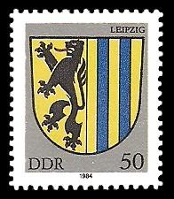 50 Pf Briefmarke: Stadtwappen von Leipzig