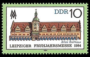 10 Pf Briefmarke: Leipziger Frühjahrsmesse 1984, Altes Rathaus