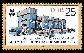 25 Pf Briefmarke: Leipziger Frühjahrsmesse 1984, Fertigungslinie