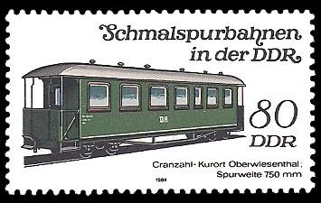 80 Pf Briefmarke: Schmalspurbahnen in der DDR, Personenwagen Cranzahl-Oberwiesenthal