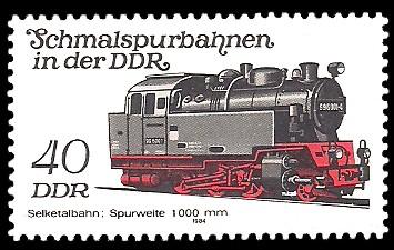 40 Pf Briefmarke: Schmalspurbahnen in der DDR, Lok Selketalbahn