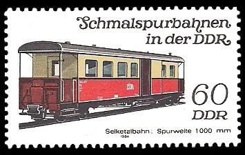 60 Pf Briefmarke: Schmalspurbahnen in der DDR, Personenwagen Selketalbahn