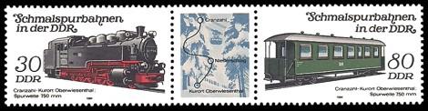 Briefmarke: Dreierstreifen A - Schmalspurbahnen in der DDR, Cranzahl-Oberwiesenthal