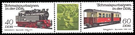 Briefmarke: Dreierstreifen B - Schmalspurbahnen in der DDR, Selketalbahn