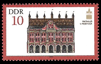 10 Pf Briefmarke: Denkmalpflege (ICOMOS), Rathaus in Rostock
