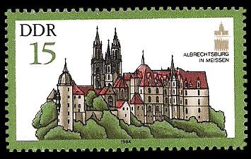 15 Pf Briefmarke: Denkmalpflege (ICOMOS), Albrechtsburg in Meissen