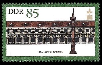 85 Pf Briefmarke: Denkmalpflege (ICOMOS), Stallhof in Dresden