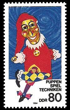 80 Pf Briefmarke: Puppenspielertechniken, Handpuppenkasper